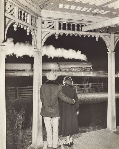 O. Winston Link, 'Mr. and Mrs. Pope watch the last steam powered passenger train, Max Meadows, Virginia', 1957