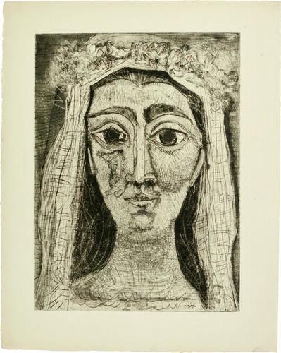 Pablo Picasso, 'Jacqueline en Mariée, de face I (15th state of 18)', 1961