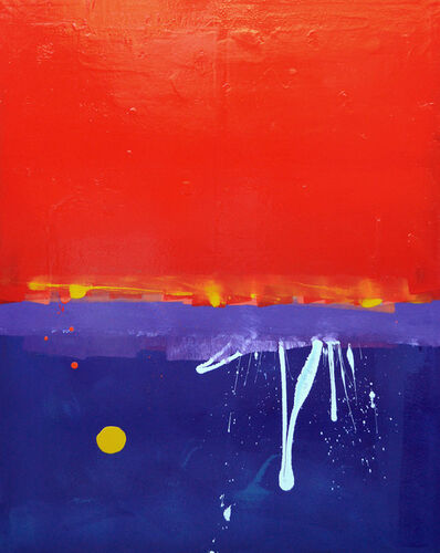 Anthony Hunter, 'Red, Red, Red Sky With White Squiggle and Yellow Blob Painting'