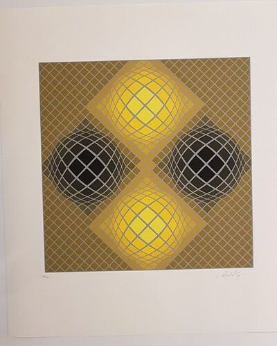 Victor Vasarely, 'Kinetic Composition, Four Yellow Spheres', 1980-1985