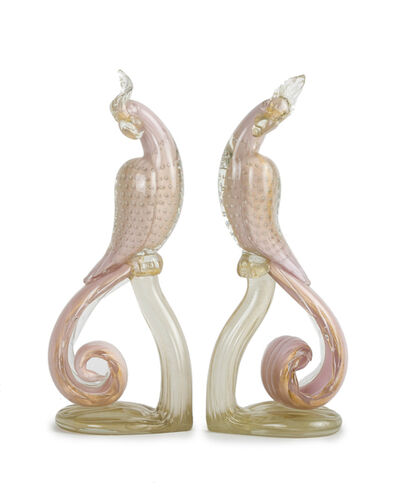 Murano, 'An opposing pair of pink Murano glass cockatoo sculptures'