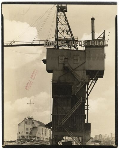 Berenice Abbott, 'Burns Brothers Coal Elevator and U.S.S. Illinois : Armory for Naval Reserves.  (West 135th Street Pier.)', 1937