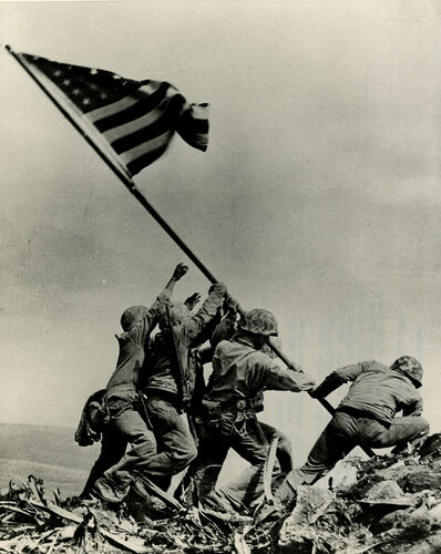 "Joe Rosenthal, '""Raising Flag on Mount Suribachi""', 1945"