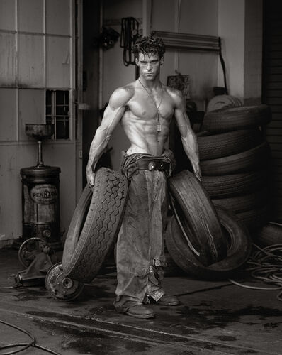 Herb Ritts, 'Fred with Tires - Bodyshop Series, Hollywood', 1984
