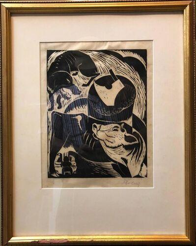 Arthur Kolnik, 'Polish French Expressionist Judaica Woodcut Had Gadya from Passover Haggadah', 20th Century