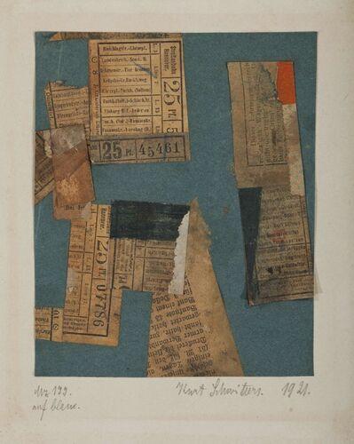 Kurt Schwitters, 'Mz 177 auf blau', 1921