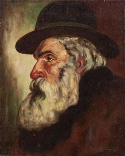 Eugeniusz Kazimirowski, 'Portrait Of Polish Jewish Rabbi Gentleman', Early 20th Century