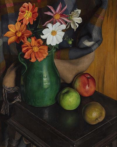 Luigi Lucioni, 'Dahlias and Apples', 1931