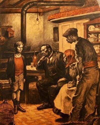 Amos Sewell, 'Three Men Questioning Boy'