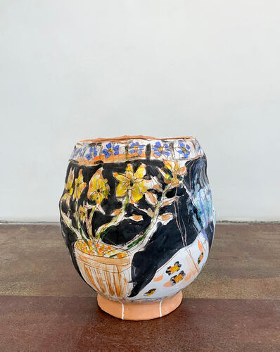Jennifer Rochlin, 'Pot of Flowers, Bethany Hamilton, Sgraffito Figures', 2019