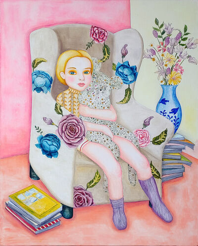Iy Saeng, 'A girl sitting on a sofa with a dream', 2018