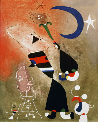 Joan Miró, 'Women and Bird in the Moonlight (Femmes, oiseau au clair de lune)', 1949