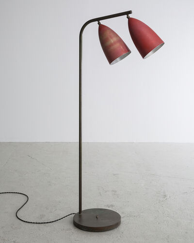 Greta Magnusson Grossman, 'Floor lamp in enameled aluminum on a chrome-plated steel base with two cone-shaped shades', 1948-1949