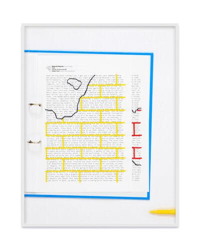 Natalie Czech, 'A negative calligramme by Robert Fitterman (Wall yellow / Nr. 2)', 2018