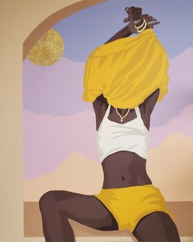 """Abi Salami, '""""Wash You Off My Skin"""" - Contemporary painting in Yellow + Purple + Brown by Nigerian American Artist', 2021"""