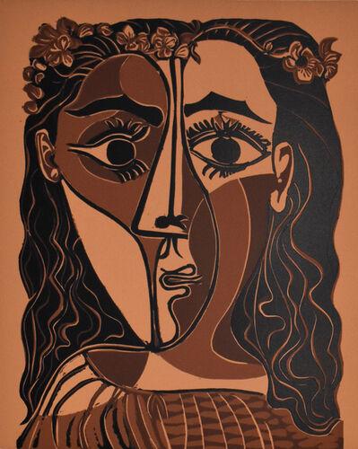 Pablo Picasso, ' Small Head of a Woman Crowned with Flowers   Petite tête de femme couronnée de fleurs', 1962