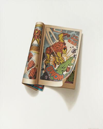 "Sharon Moody, '""Btop! Krak!"" Daredevil Vol. 1, No. 29, June 1967"", 2015 oil on panel, 20 x 16 inches', 2015"