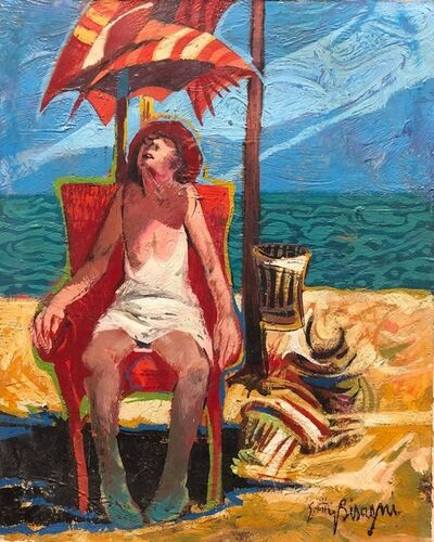 Getty Bisagni, 'Woman in Chair Beach Scene Italian Modernist Oil Painting', 20th Century