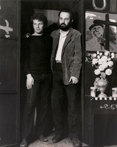 Kati Horna, 'Alejandro Jodorovsky y Alberto Gironella with Louis Buñuel painting'