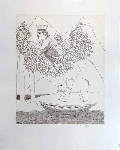 "Badri Narayan, 'King, Elephant & Boat, Etching on Paper by Padmashree Artist Badri Narayan ""In Stock""', ca. Circa"