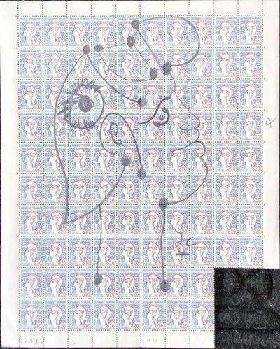 Jean Cocteau, 'Marianne sur une planche de 96 timbres de la Marianne de Cocteau (Marianne on a plate of 96 stamps of Marianne de Cocteau)', ca. 1960