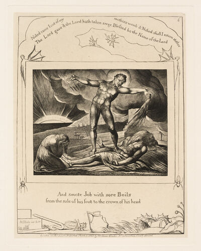 William Blake, 'Satan Smiting Job with Boils', 1825