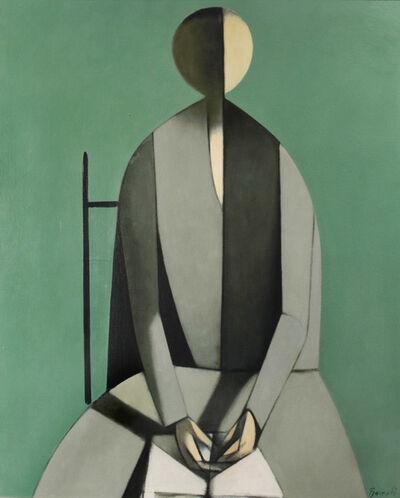 Duilio Barnabé, 'Seated Figure with Book, Green Background-Figura seduta, con libro, fondo verde', ca. 1957