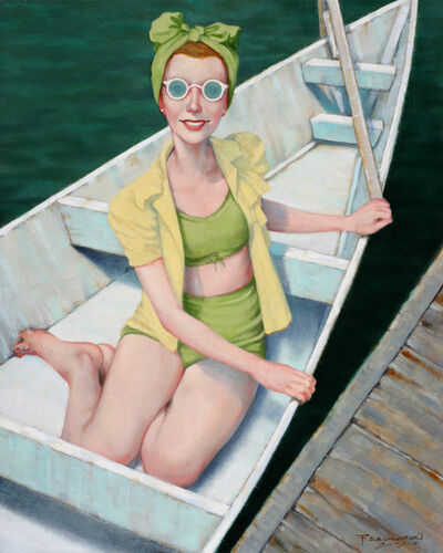 """Fred Calleri, '""""Day Tripper"""" oil painting of a woman in a white rowboat with green bikini and scarf', 2020"""