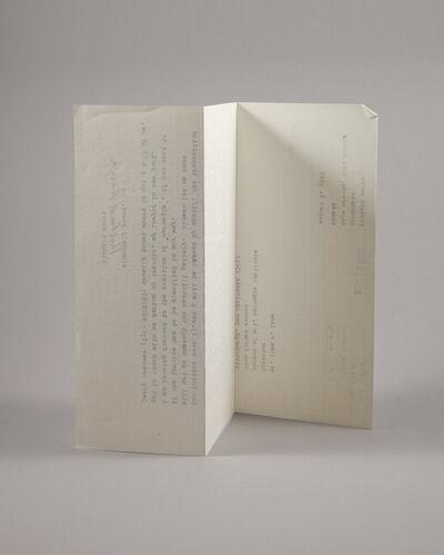 Lenka Clayton, 'Letter from a Sculptor (Serra)', 2019