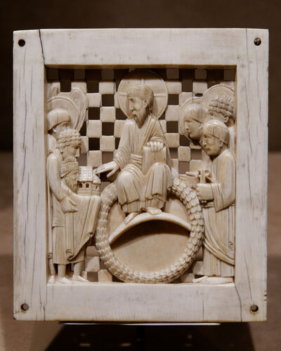 'Otto I Presenting Magdeburg Cathedral to Christ, one of a series of seventeen ivory plaques known as the Magdeburg Ivories', ca. 962-68
