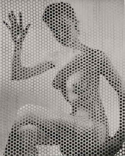 Erwin Blumenfeld, 'Nude Waving Behind Perforated Screen', ca. 1955