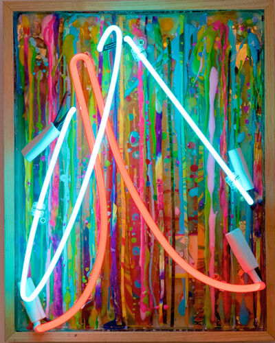 Tracy Lee Griffith, 'Peak Experience, blue and pink neon, vintage board, vibrant and colourful, great reviews, signed ', 2017