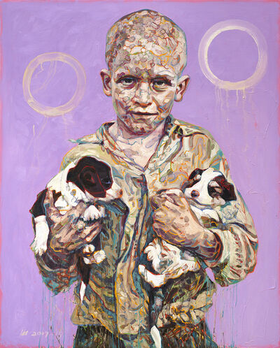 Hung Liu, 'Migrant Child: Puppies', 2017