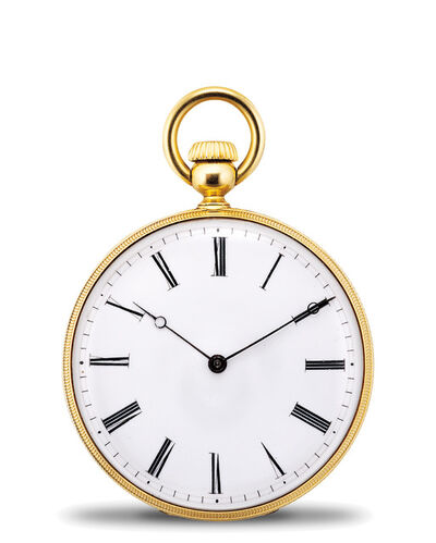 Patek Philippe, 'A rare and early yellow gold and black enamel openface pocket watch with Jean Adrian Philippe Winding System', 1857