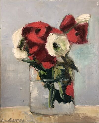 "Anne Harney, '""Persian Rose"" oil painting of white and red roses in a glass vase', 2020"