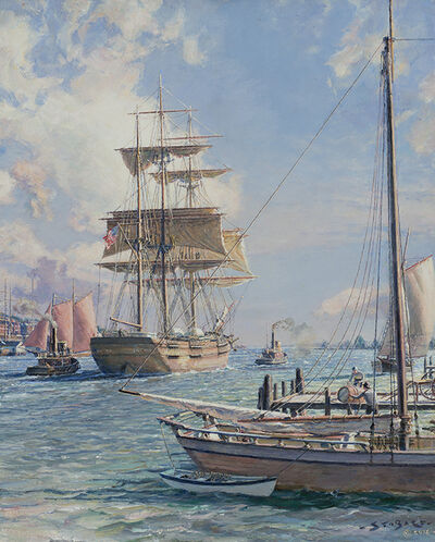John Stobart, 'New York, Shipping on the East River', 2015
