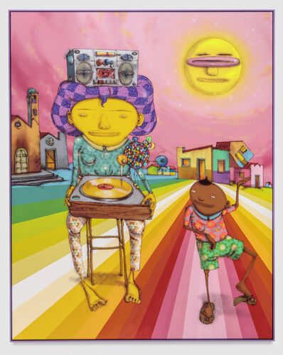 OSGEMEOS, 'The man that has the golden record', 2017