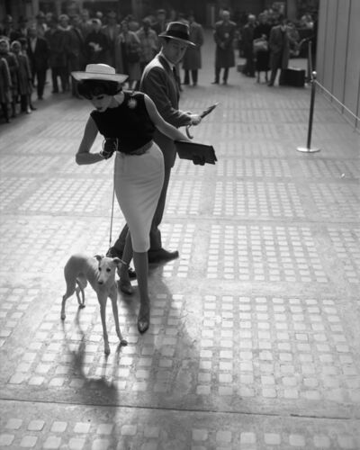 William Helburn, 'Simone D'Aillencourt with Whippet, Penn Station', ca. 1959