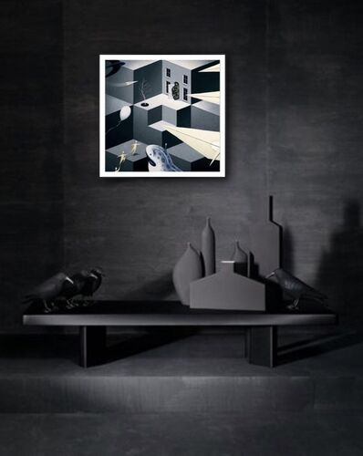 Rupert Gatfield, 'Approach, Original, Tumbling blocks subdued monochrome, Origami cranes Signed', 2017