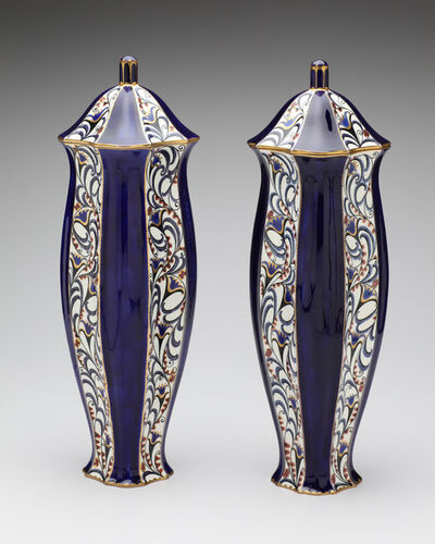 Ernst Wahliss, 'Serapis Blue Blossoms Vase Pair', ca. 1912