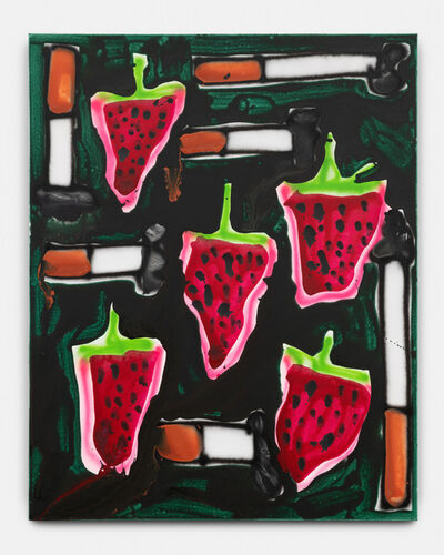 Katherine Bernhardt, 'Strawberries + Cigs', 2019