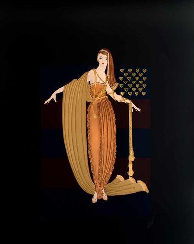 Erté (Romain de Tirtoff), 'Fringe Cape (American Millionairess Suite)', 1987