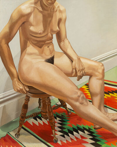 Philip Pearlstein, 'Female Model on Stool with Indian Rug', 1972