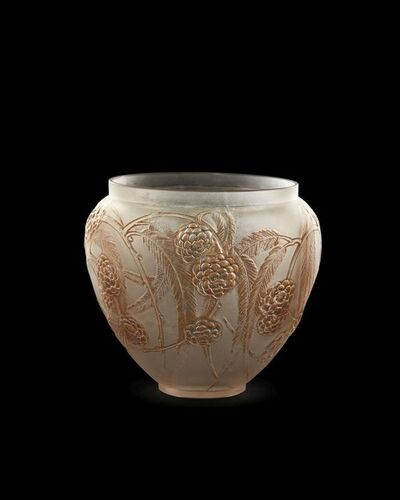Néfliers' No.940, 'a Lalique clear and frosted glass vase with brown staining', Designed 1923