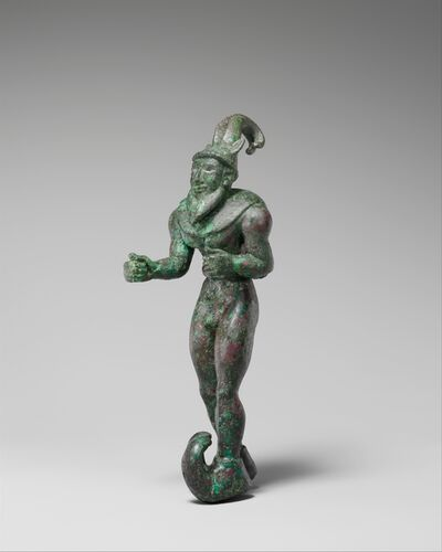 Unknown Proto-Elamite, 'Striding figure with ibex horns, a raptor skin draped around the shoulders, and upturned boots', ca. 3000 B.C.