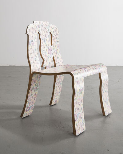 "Robert Venturi, '""Empire"" chair in molded plywood with laminated finish in the ""Grandmother"" pattern', 1984"
