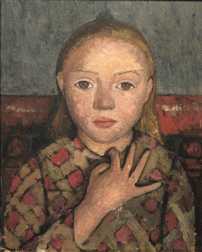 Paula Modersohn-Becker, 'Portrait de Jeune Fille, les Doigts Écartés Devant la Poitrine ', 1905