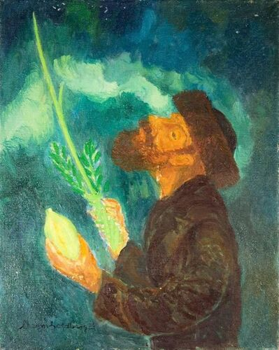 Chaim Goldberg, 'Blessing From Above, Judaica Oil Painting, Rabbi with Lulav and Esrog', 1985