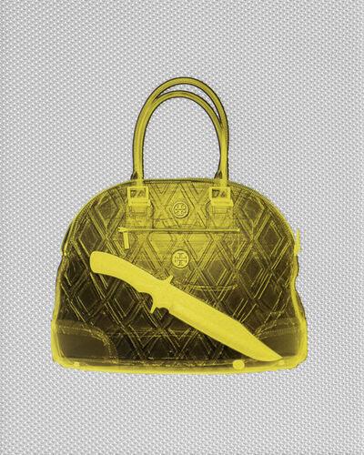 Blazo Kovacevic, 'Gold Tory Burch Handbag with Knife', 2015