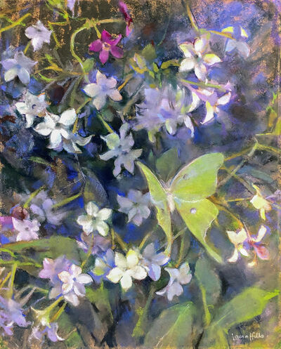 Laura Coombs Hills, 'Nicotiana at Night & the Luna Moth',